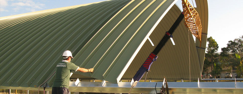 Wide Span Roofing Construction Team